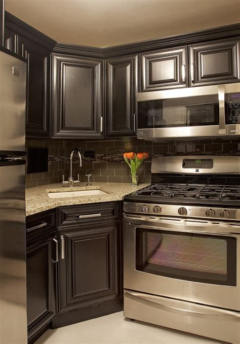 small kitchen with black cabinets my next kitchen grey cabinets with backsplash