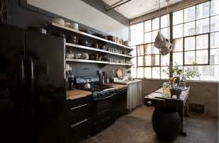 industrial loft kitchen with light 31 black kitchen ideas for the bold modern home