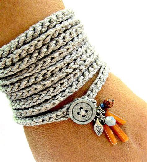 crochet bracelets with crochet bracelet with charms wrap bracelet silver grey