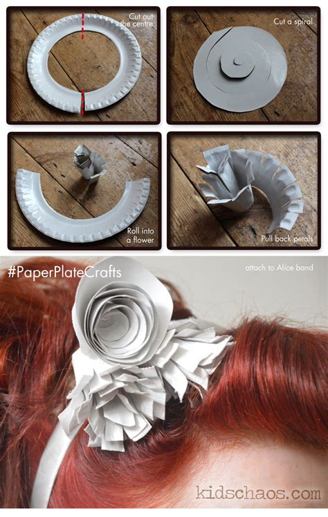 how to make paper plate crafts paper plate flower crafts fascinator kidschaos