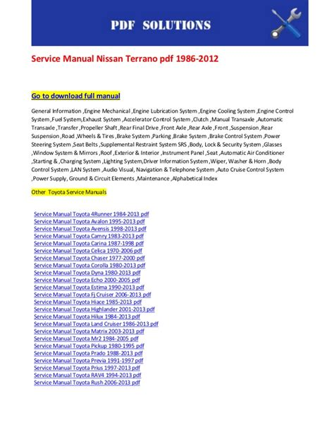 small engine repair manuals free download 1998 toyota t100 seat position control service manual nissan terrano pdf 1986 2012