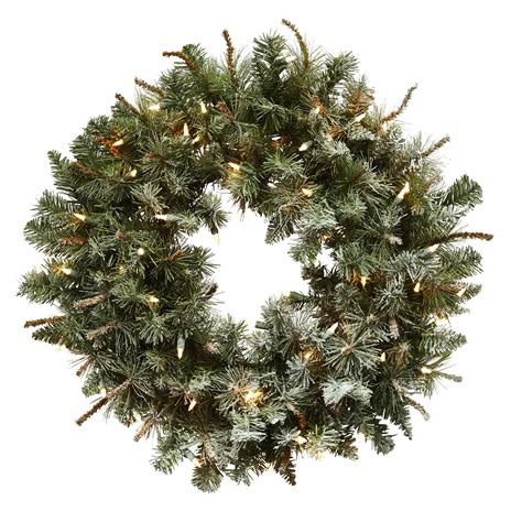 wreaths lighted lighted frosted pine wreath prowreaths