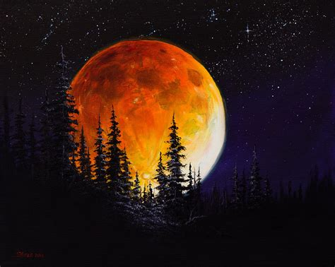 bob ross painting wolf ettenmoors moon painting by chris