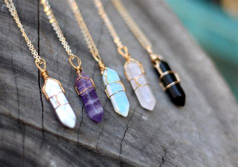 crystals to make jewelry wire wrap necklace necklace healing