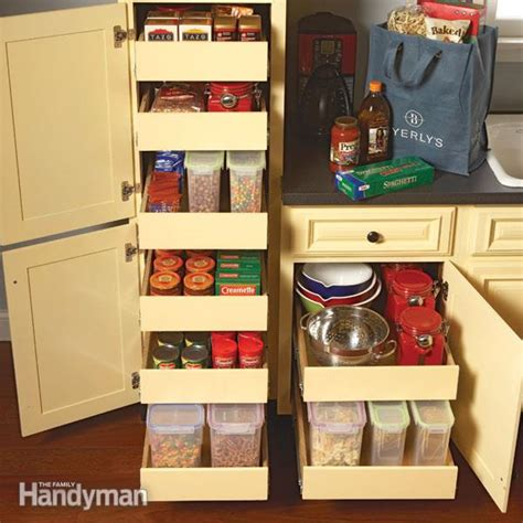 kitchen cabinets ideas for storage kitchen storage cabinet rollouts the family handyman