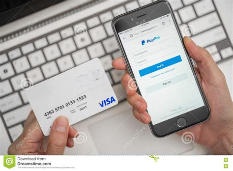 make a payment store card using paypal and credit card for shopping editorial