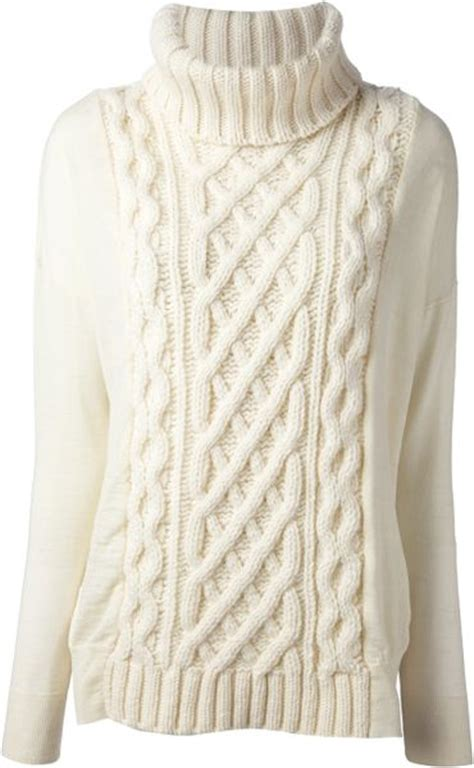 white knit sweater coast weber ahaus cable knit sweater in white lyst