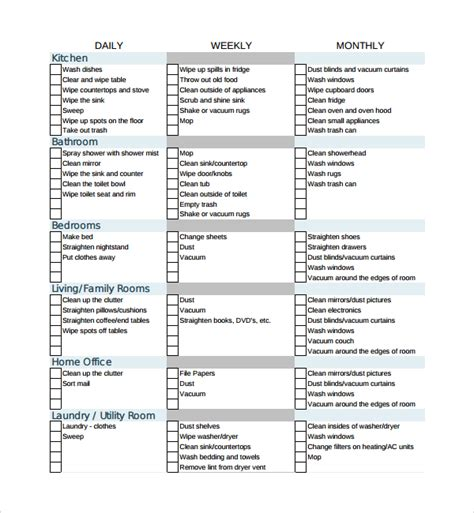 cleaning list sle house cleaning checklist 13 documents in word pdf