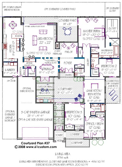 floor plans with courtyard courtyard house plan modern courtyard house plans contemporary houseplans the house plan site