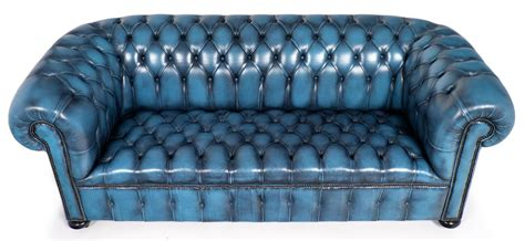 blue leather chesterfield sofa vintage steel blue leather chesterfield sofa at 1stdibs