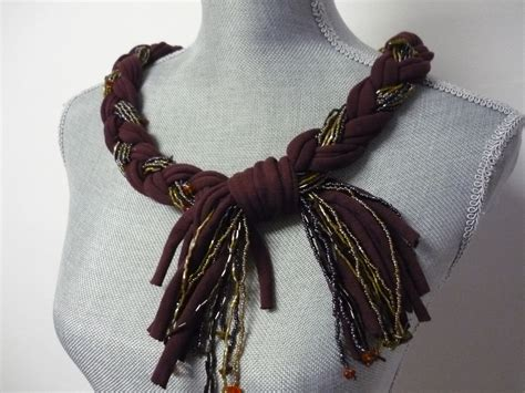 beaded scarf necklace braided beaded scarf necklace burgundy by marielamode on