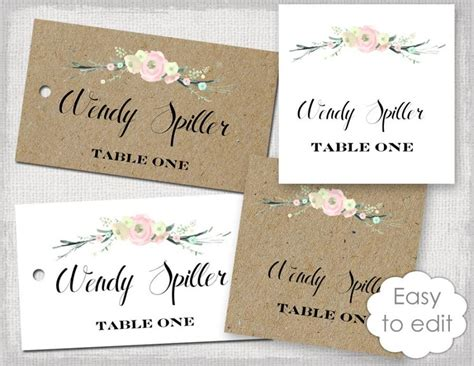 how to make a name card rustic name card template quot rustic flowers quot blush pink