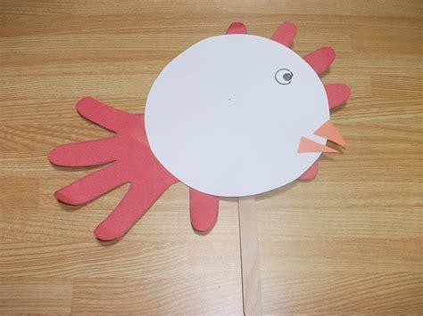 chicken crafts for chicken puppet handprint craft preschool education for