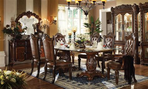 acme furniture dining room set acme vendome 7pc pedestal dining room set with