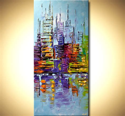 spray paint palette knife modern palette knife abstract city painting nyc new york
