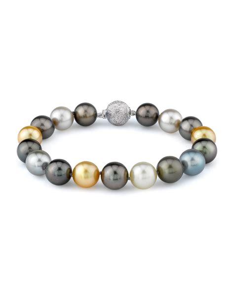 bead source 9 10mm tahitian golden south sea pearl bracelet aaaa