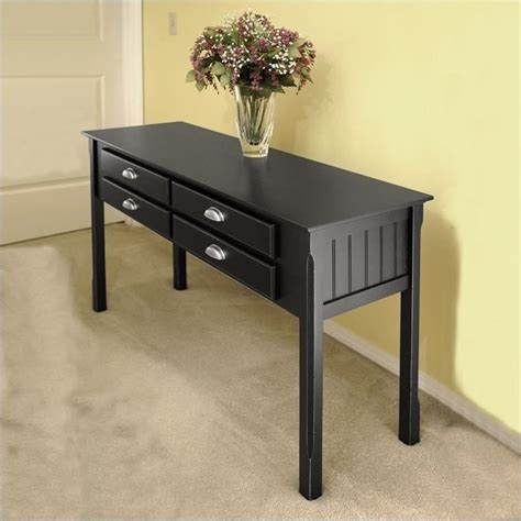 black sofa tables winsome timber solid wood sofa black console table ebay