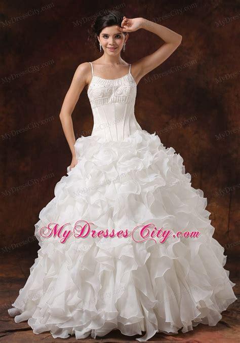 beaded corset wedding dress spaghetti straps beaded corset ruffled wedding gown for