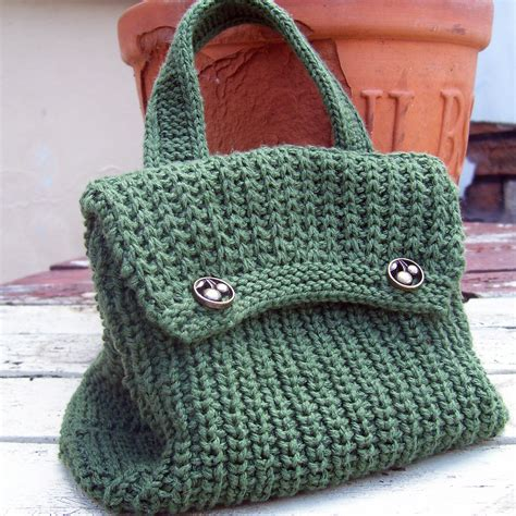 knit bag pattern crocheted free handle knitted pattern purse crochet and