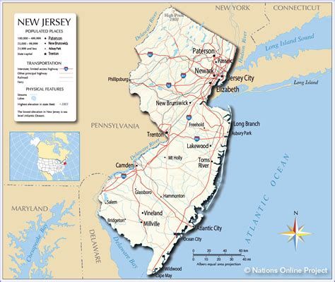 in new jersey reference map of new jersey usa nations project