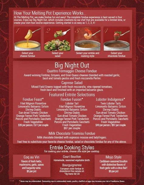 melting pot downtown menu