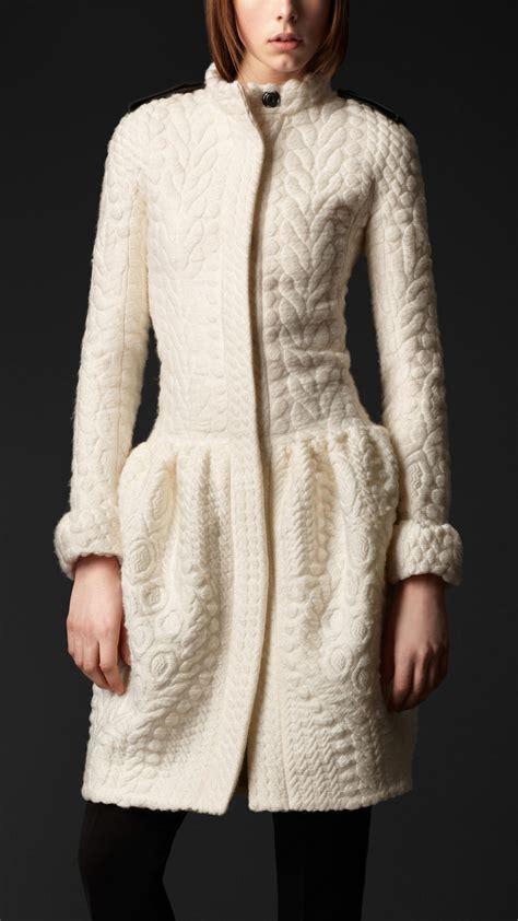 knit coat burberry prorsum drop waist lightweight knit wool