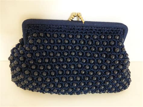 navy beaded clutch 1950 s navy blue plastic beaded clutch purse from