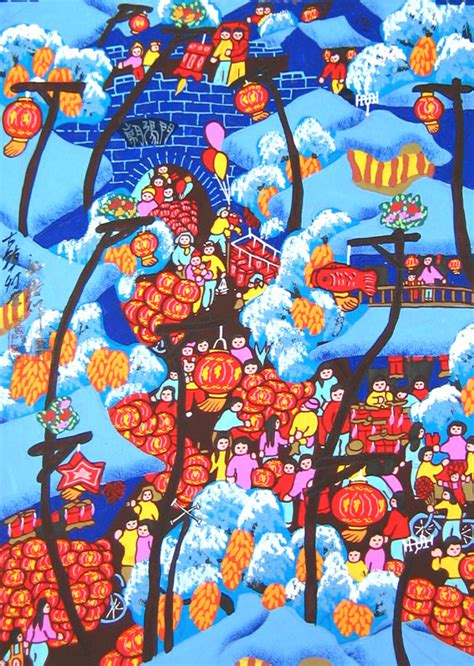 festival painting cina lantern festival of town folk painting