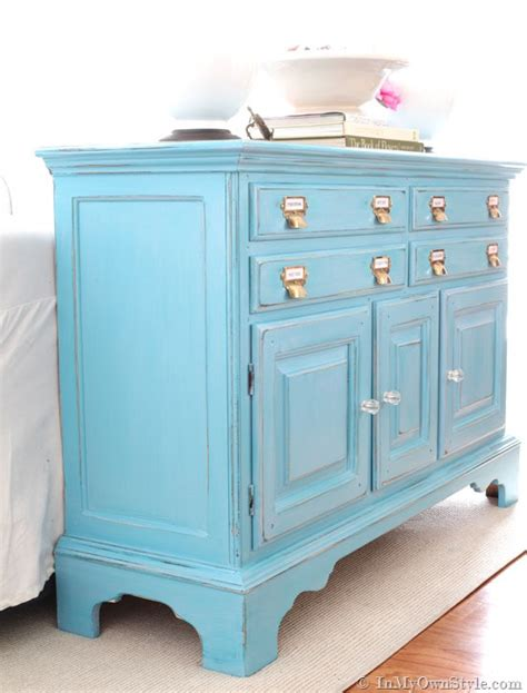 chalk paint turquoise before and after furniture makeover in turquoise in my