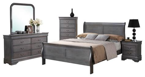 sleigh bedroom furniture sets 5 louis philippe driftwood gray sleigh bedroom