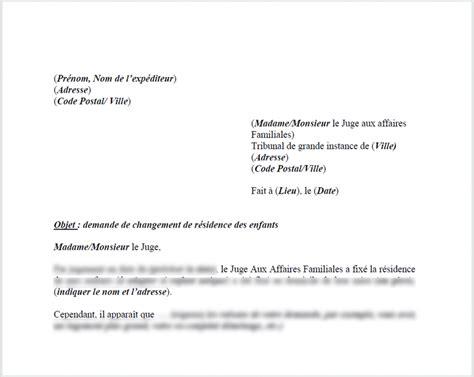 Modification Jugement Jaf by Mod 232 Le De Lettre Demander Le Changement Du Lieu De