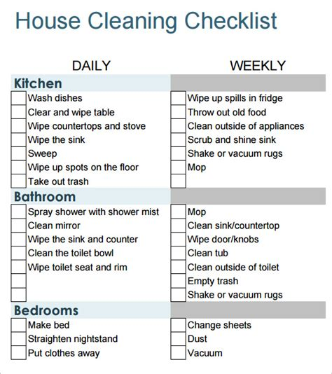 cleaning list sle house cleaning checklist 9 documents in pdf word