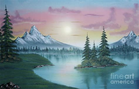 bob ross painting in mountain lake painting a la bob ross 1 painting by bruno