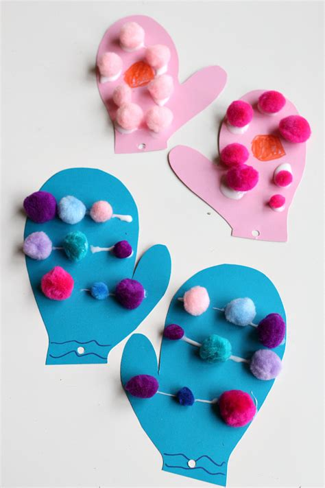 images of and craft for pom pom mittens craft