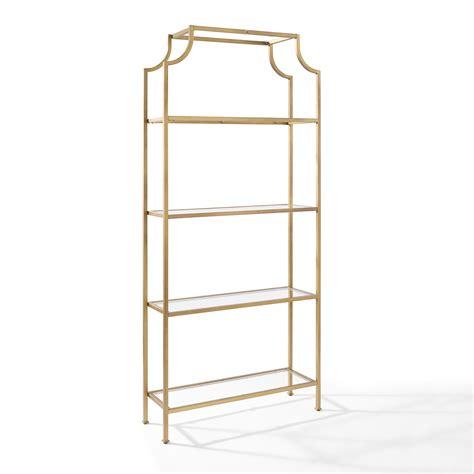 metal and glass bookshelves aimee gold glass etagere crosley furniture free standing