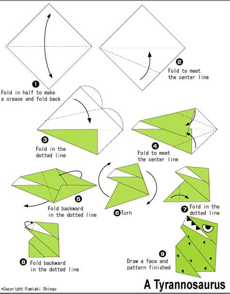 origami easy dinosaur origami tyrannosaurus