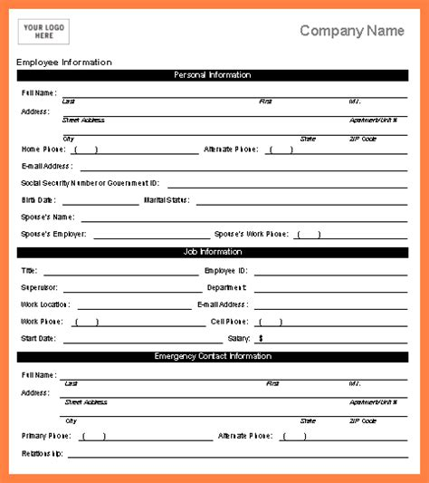 4 employee personal information form template bussines