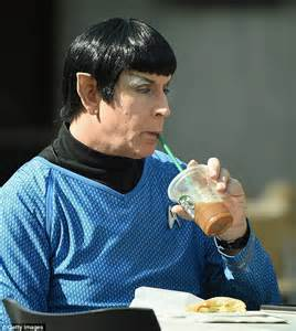 Spock is spotted drinking Starbucks at Star Trek convention in New York   Daily Mail Online