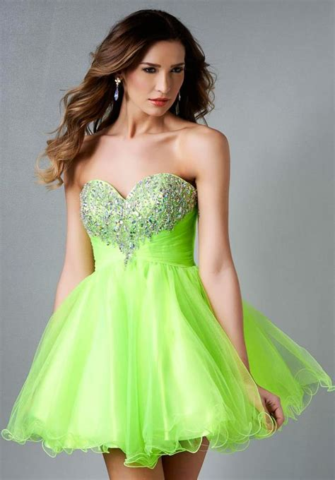 beaded homecoming dresses gown sweetheart tulle beaded neon green
