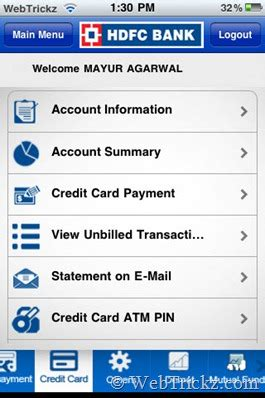 how to make hdfc credit card payment official hdfc bank mobanking iphone app released