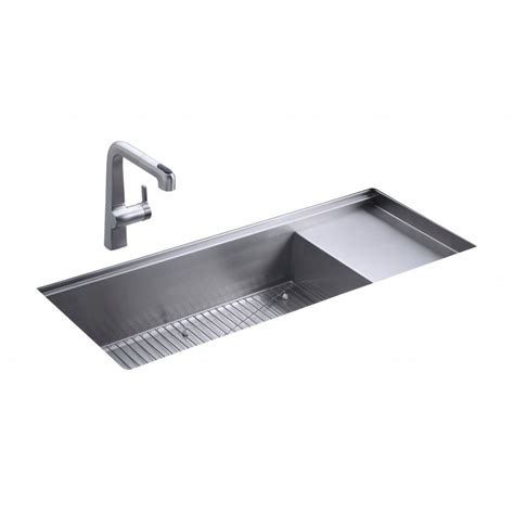 kitchen sink and drainer kohler stages single bowl and drainer 1143mm x 470mm