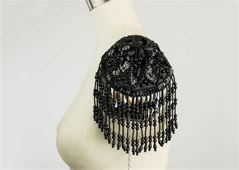 beaded epaulettes black beaded and sequin fringed epaulet applique fringe