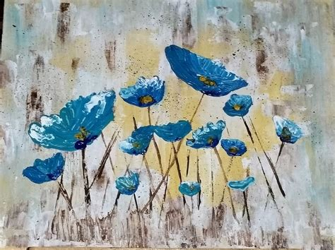 acrylic painting tutorial angela easy palette knife poppies