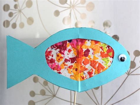 wax paper arts and crafts stained glass fish for rosh hashanah