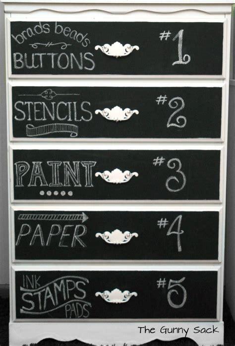 chalkboard paint lettering chalkboard dresser a craft supply storage solution