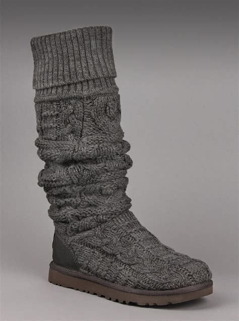 ugg the knee cable knit boots ugg australia womens the knee twisted cable boot in