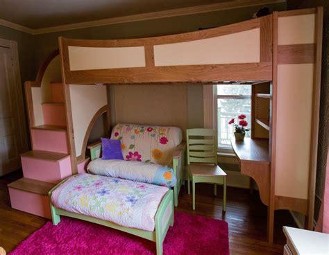 bedroom bunk beds for kids with desks underneath window