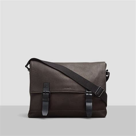 kenneth cole leather bag leather buckle messenger bag kenneth cole