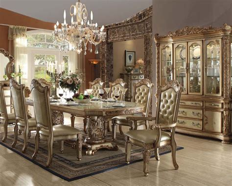 acme furniture dining room set traditional dining set vendome gold by acme furniture