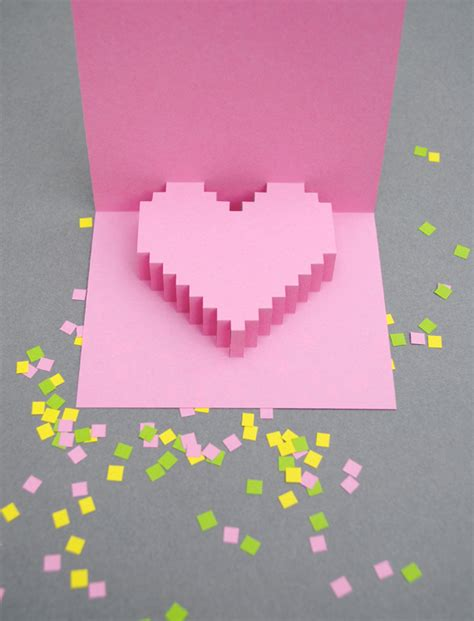 how to make a pixel pop up card valentines day pixelated popup card minieco